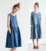 Пример сшитого платья бохо голубого цвета