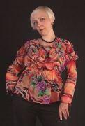 Выкройка блузы из шифона с драпировкой 42-62 - Уровень сложности пошива: высокий  Модель подходит девушкам и дамам с любой фигурой. Для пошива следует использовать шифон, очень тонкий шёлк или очень тонкий «льющийся» трикотаж (стреч).