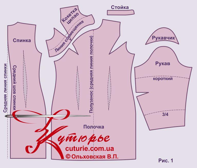 Выкройка китайского платья ципао