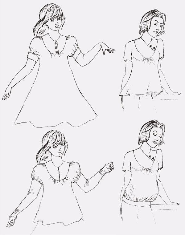 Как платье с цельнокроеным рукавом, присборенным у кокетки и под манжет.  Модель блузы может быть выполнена в четырёх...
