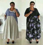 Платье трапеция с перепадом для полных по выкройке больших размеров от 52 до 64