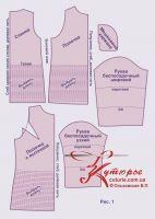 Комплект лекал  в большой выкройке платья для полных