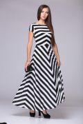 Выкройка «платья отрезного в полоску макси»
