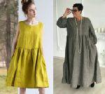 Выкройка платья-трапеции бохо с оборкой