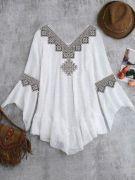 Выкройка блузы бохо с кружевом 40-54