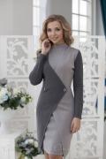 Простая выкройка прямого платья футляр-водолазка с рукавом и двойной полочкой